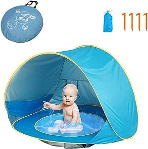 HUSAN Tenda da Spiaggia per Bambini, Tenda da Viaggio Portatile Leggera per Bambini con Piscina UPF 50+ Protezione da Sole per Esterni Include Borsa da Trasporto