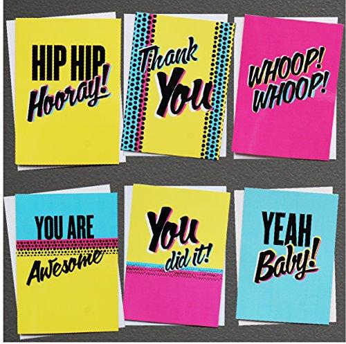 (6Pack Grüße Alle Anlass blanko sortiert auf der Innenseite Note Karten–Grußkarte Bulk Box Set–6moderne Farbe Funk Aufstellkarten mit Umschläge enthalten 127mm x 177mm)