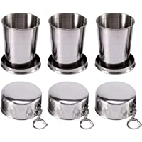 Collapsible Cup, Mini Stainless Steel Folding Cup with a Lobster Clip, Either on Your Belt Loop, Backpack or Jacket…