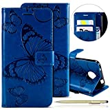 Herbests Leder Handy Schutzhülle für Motorola Moto C Lederhülle Schmetterling Muster Leder Handyhülle Handytasche Brieftasche Ledertasche Bookstyle Flip Case Cover Klapphülle,Blau