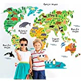 MYVINILO - Vinilo decorativo infantil - Animal mapamundi / Impresión (100x80cm)