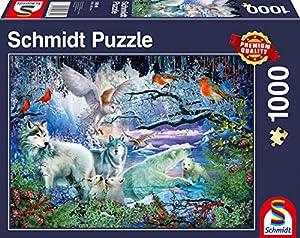 Schmidt Spiele Puzzle 58349Lobos en Invierno Bosque, Puzzle de 1000Piezas, Multicolor