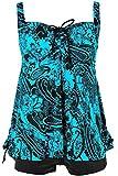 Damen Retro Geblümter Badeanzug Große Größen Zweiteiliger Badebekleidung Pin Up Tankini Bauchweg Bademode, Größe DE 46/Etikettengröße 48, Farbe Hellblau