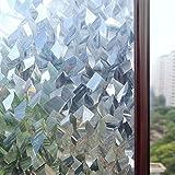 Rabbitgoo 3D Fensterfolie Selbstklebend Dekofolie Statische Sichtschutzfolie haftend Anti-UV 90x200CM