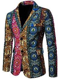 URSING Herren Trenchcoat Sakko Blazer Anzug Jacke Print Bunte Funky Casual  Party Slim Fit Mehrfarbig Smoking Anzugssakko Business… 98335c7dbc