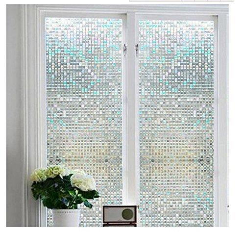 Fensterfolie, Verdunkelungsfolie für Fenster zum Aufkleben, blickdicht, Sichtschutz, 100% lichtundurchlässig, Glanzfinish, Vinylaufkleber ohne Gelkleber, leicht zu entfernen - von Do4U , plastik glas, Cube, 45*200cm