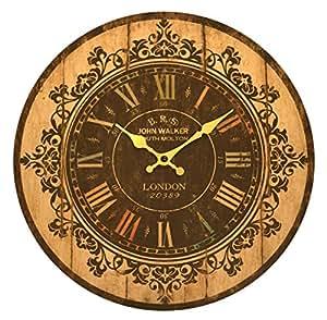 'John Walker' Grande Horloge murale en bois style antique vintage vieilli–34cm
