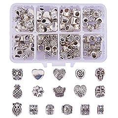 Idea Regalo - NBEADS Perline Europei, 96 Pezzi/Scatola 16 Forme Perline Distanziate Allentate in Argento Antico Tibetano con Foro Grande per La Creazione di Gioielli