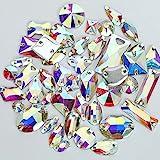 BrillaBenny 100 Pietre Strass da Cucire Aurora BOREALE Acrilico - Resina (2 Fori) Mix da Cucito AB Crystal Goccia, Quadrato, Fiore, Baguette, Rivoli Shape Stone Sewing Acrylic Resin