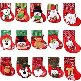 15 Piezas de Mini Calcetines de Navidad 3D Bolsa de Regalo de Fieltro de Papá Noel Monigote de Nieve Bolsa de Regalo y Dulces para Decoración de Fiesta de Navidad