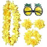 PRETYZOOM Conjunto de Pulsera de Collar de Flores Hawaianas con Gafas de Fiesta Fiesta Tropical Leis Disfraz Diadema Accesori