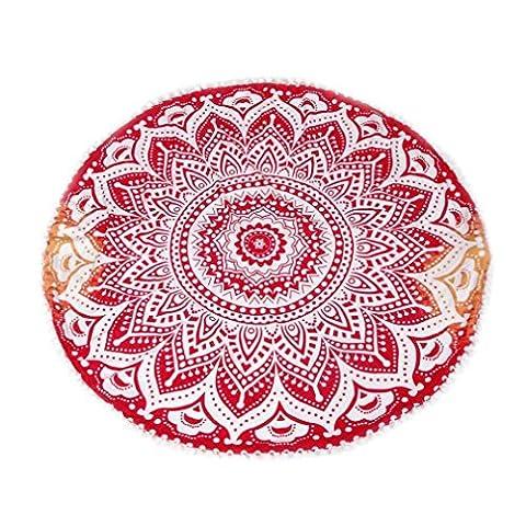 Taie d'oreiller, kingko® Grand Bohemian Coussin de méditation Rond Mandala