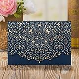 ponatia 25Stück EINLADUNGEN Karten Hohl Muster Design für Hochzeit Brautschmuck Dusche Einladung Baby Dusche Verlobung Geburtstag Einladung Cards Graduation blau