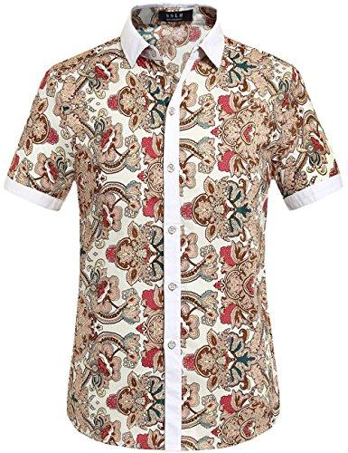SSLR Herren Blumen Baumwolle Freizeit Regular Fit Button Down Kurzarm Hemd Weiß (168-60)