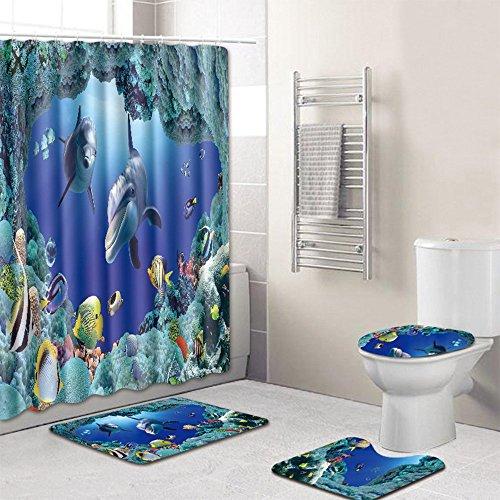 Cortina de ducha antibacterial impermeable Juego de baño de cuatro Mundo submarino Decoracion de baño Cortina de Ducha+Alfombra de Baño+Pedestal Mat+Tapa del Inodoro