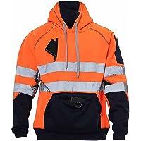 xpaccessories New Mens Hi Viz Vis 3 Zips Zipper Patched Fleece Sweatshirt Work Hoodie Jacket S-5xl