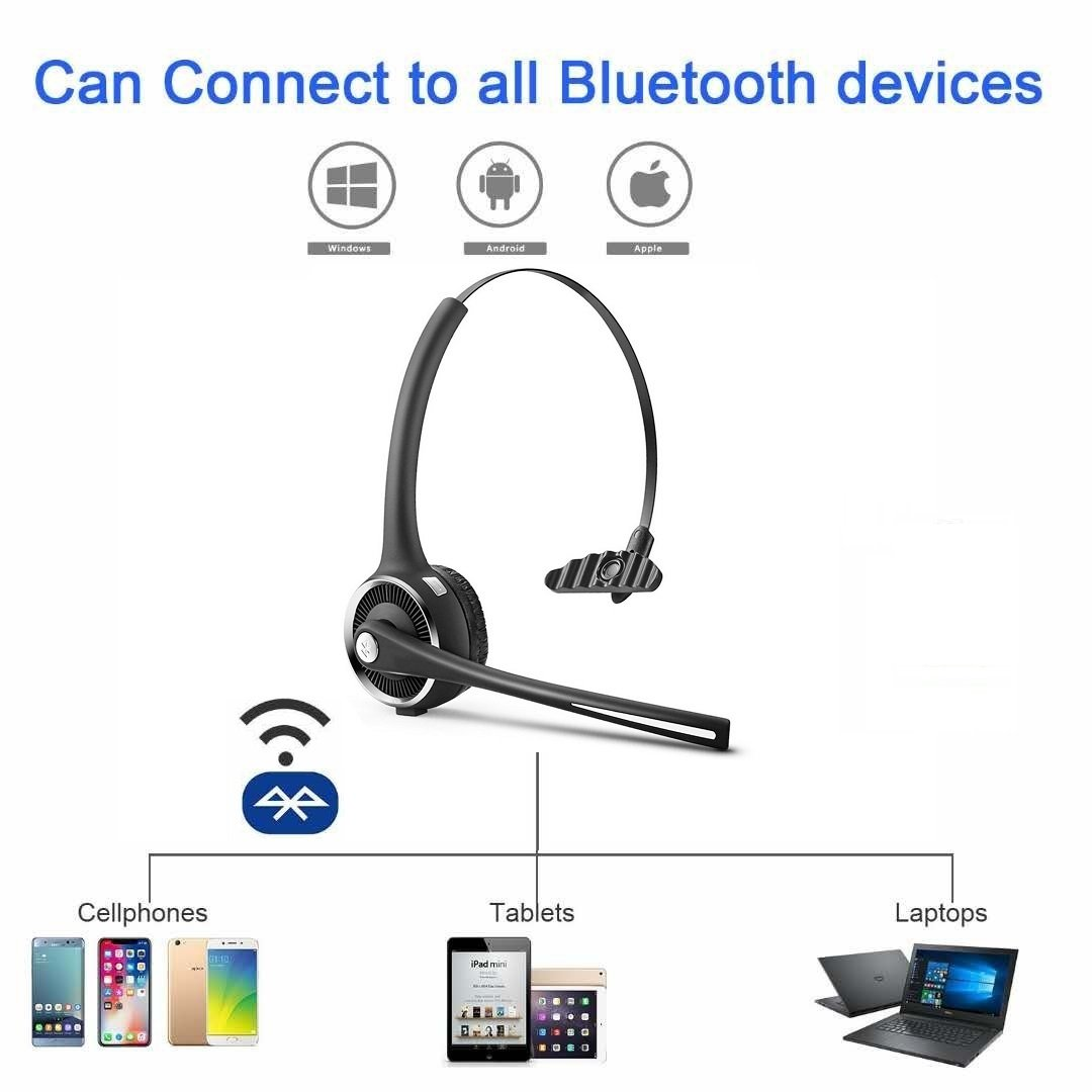 799476cd203 DIGMALL Trucker Cell Phone Bluetooth Headset with HD Mic & Stereo ...