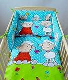BABYLUX Kinderbettwäsche 2 Tlg. Bettwäsche Bettset Babybettwäsche 100 x 135 cm Schafe (3. Grün Schaf)
