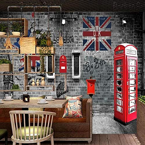 3D Fototapete European And American Retro Retro London Phone Booth Cafe Restaurant Wall Professional Production Wallpaper Mural @250 * 175