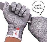 Cut Resistant Gloves, Food Grade Level 5 Protection,Safety Kitchen and Outdoor Cut Gloves(Medium)