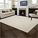 #5: Carpet Craft Modern Collection Ivory Handmade Wool Carpet With Loop & Cut Pile 6 Feet x 8 Feet (180x240 cm) Woolen Carpet for Living room Bedroom Floor and Hall
