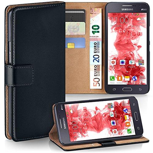 moex Samsung Galaxy Grand Prime | Hülle Schwarz mit Karten-Fach 360° Book Klapp-Hülle Handytasche Kunst-Leder Handyhülle für Samsung Galaxy Grand Prime Case Flip Cover Schutzhülle Tasche