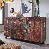 FineBuy Sideboard CARVA 160x90x40 cm Massivholz Vintage Anrichte Wohnzimmer | Design Kommode Flur | Dielenkommode Echtholz | Flurschrank massiv | Schubladenkommode Holz bunt