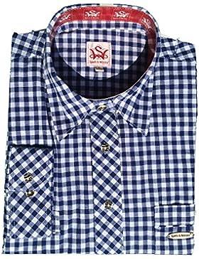 Trachtenhemd Peine   blau-weiß kariert   Langarm Gr. XS-4XL   100% Baumwolle   Spieth & Wensky