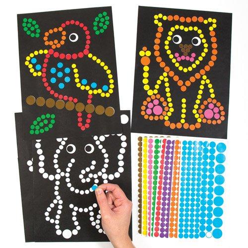 Baker Ross Klebepunkte Dschungeltiere für Kinder zum Gestalten und Aufstellen – Kreatives Bilder-Bastelset für Kinder (8 Stück)