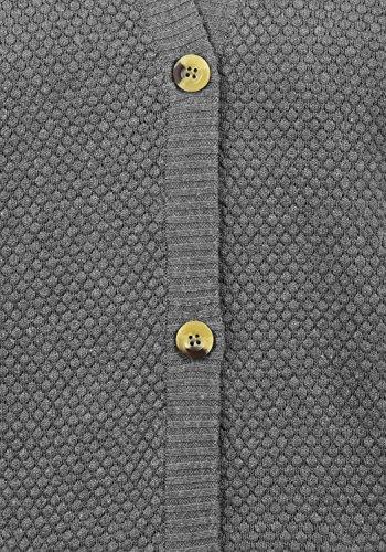 DESIRES Sophia Damen Strickjacke Cardigan Feinstrick mit V-Ausschnitt aus 100% Baumwolle Med Grey Melange (8254)