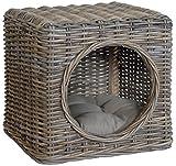 Katzenhöhle aus Rattan inklusive Polster / auch als Sitzhocker nutzbar