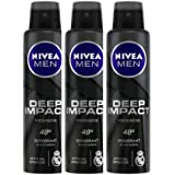 NIVEA Men Deep Impact Freshness Deodorant Spray, 150 ml (Pack of 3)