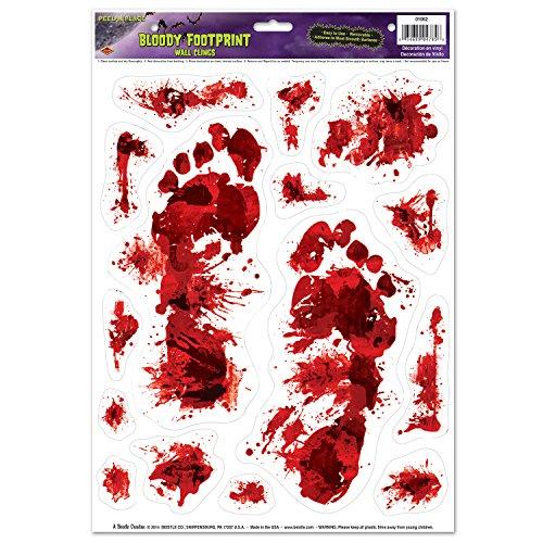 Generique - 15 Halloween Aufkleber Bedruckt mit blutigen Fußspuren