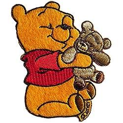 Toppe termoadesive - Winnie Puuh con Teddy Disney Comic bambini - giallo - 7,8x6cm - Patch Toppa ricamate Applicazioni Ricamata da cucire adesive
