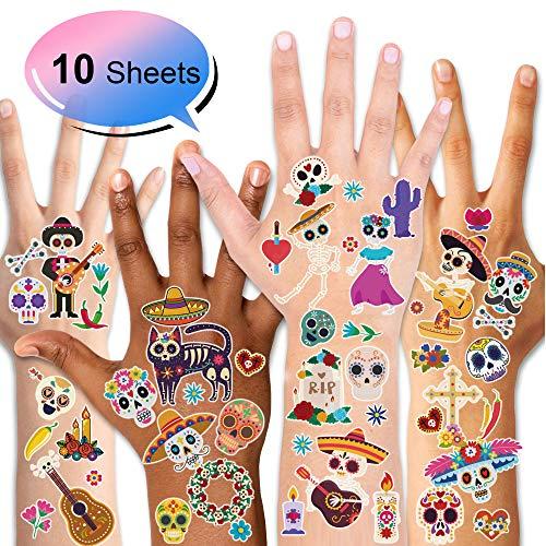 Konsait Mexican Tag Der Toten Temporäre Tattoos Halloween Cinco de Mayo Temporär Tätowierung Klebe Tattoo Aufkleber für Kinder Männer Frauen mit Zuckerschädel Skelett Mexikanische Hat Ukulele (Tag Der Toten-pinata)