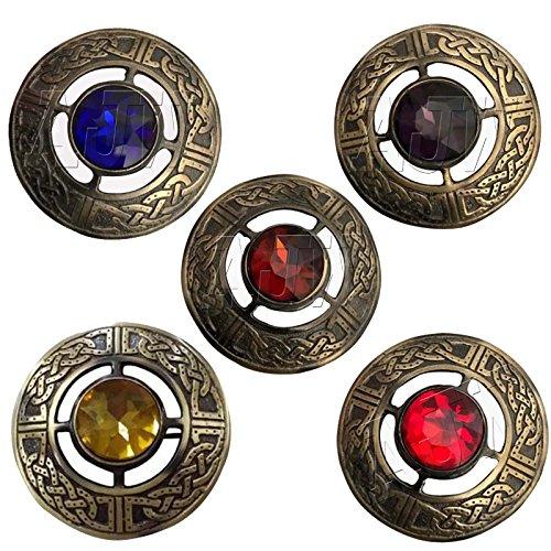 Antique Celtic Kilt Fly Plaid Brooch Multi Color Stones 3