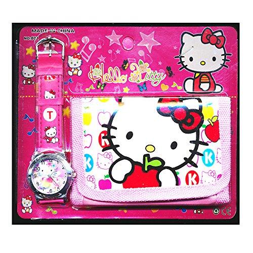 Hello Kitty Pour Enfants Montre Portefeuille Ensemble pour Enfants Enfants Filles Garçons chat Great Cadeau De Noël Cadeaux Cadeau - Vendu par Happy Bargains Ltd