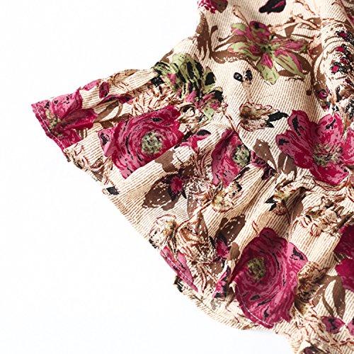Simplee Apparel le donne alla vita di taglio freddezza top cinghia v collo decorativo floreali razzo mini vestito Rosso