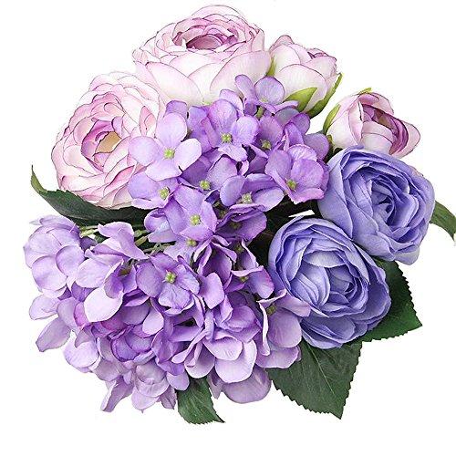 Felice - bouquet di fiori artificiali in seta, con 7 ortensie e rose tea, 30 cm, per matrimoni, stanze, casa, hotel, decorazioni per feste e regali per festività purple