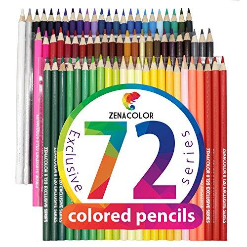 72, 120 order 120 mit Metallbox Buntstifte von Zenacolor - Einzigartige Farben - Leichter Zugang mit Fächern - Ideales Set für Künstler, Erwachsene und Kinder (72)