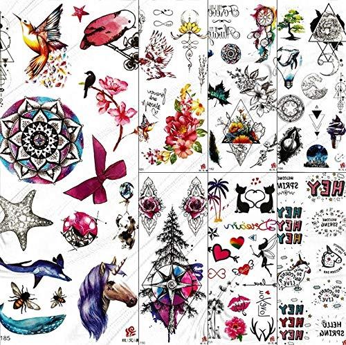 lihaohao wasserdichte Gefälschte Temporäre Tattoos Für Kinder Kleine Nette Tatoo Cartoon Pin Baum Einhorn Wassertransfer Tattoo 19X9 cm 7 Stück