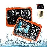 Poscoverge Unterwasser Kinder Kamera, Kamera für Kinder,12MP HD Wasserdichte Digitalkamera, Mini Action Camcorder Kinderkamera, LCD Anzeige/ 4X Digitaler Zoom/ 5MP CMOS-Sensor mit 8GB Speicherkarte & Batterien