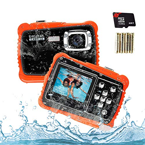 Unterwasser Kinder Kamera, Kamera für Kinder,12MP HD Wasserdichte Digitalkamera, Mini Action Camcorder Kinderkamera, LCD Anzeige/ 4X Digitaler Zoom/ 5MP CMOS-Sensor mit 8GB Speicherkarte & Batterien