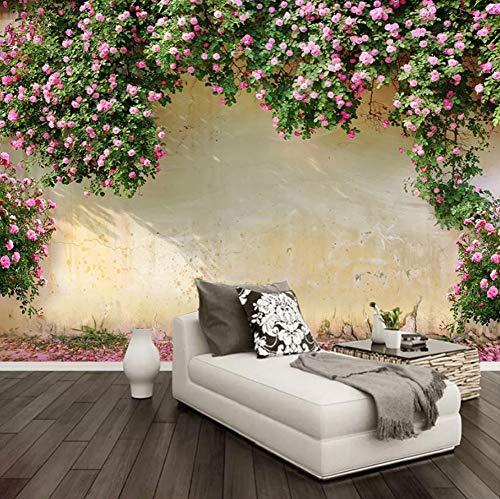 VVNASD 3D Dekorationen Aufkleber Wandbilder Wand Tapete Rosa Blumen Rebe Hintergrund Wohnzimmer Küchen Inneneinrichtung Kunst Mädchen Schlafzimmer (W) 400X(H) 280Cm