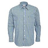 Almsach Trachtenhemd Ferdl Regular Fit Zweifarbig in Blau und Dunkelgrün inkl. Volksfestfinder, Größe:M, Farbe:Mehrfarbig