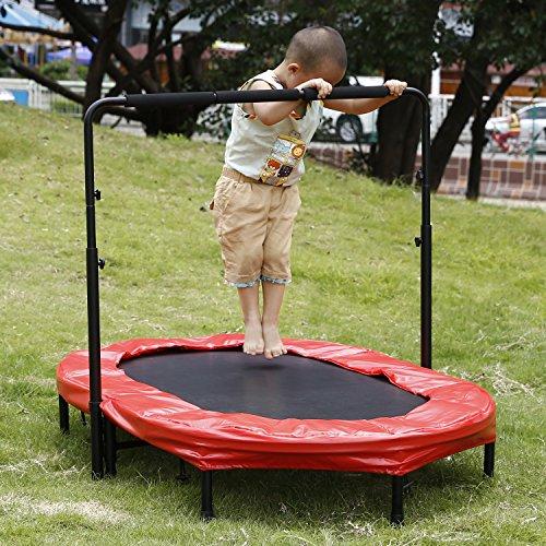 Ncient Fitness Trampolin mit Höhenverstellbarer Haltegriff Indoor/Outdoor Twin Trampolin für 2 Kinder- Oder Eltern-Kind-Aktivitäten, 143 x 91 cm (Rot)