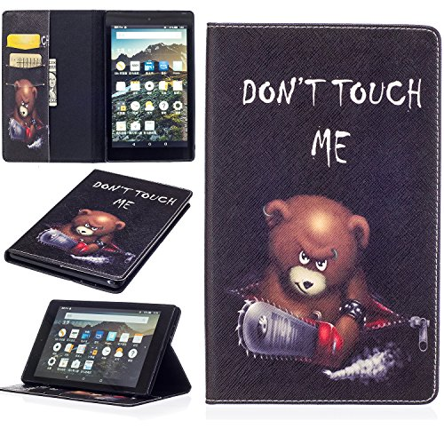 Für Fire HD 8 Hülle,SKYXD Leder Klappbar PU Folio Klappbar Schutzhülle [Auto Schlaf/Wach Funktion] Standfunktion Magnet Klapphülle Zubehör Handy Tasche für Amazon Fire HD 8 (6. Generation - 2016 Modell) Case Bookstyle Flip Leather Cover - Bär Don't Touch Fire Hd 6 Kindle-fall