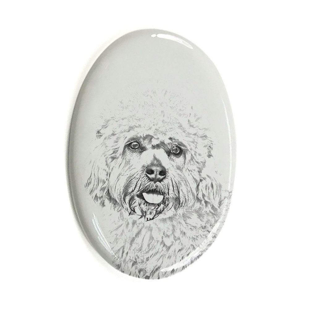ArtDog Ltd. Dandie Dinmont Terrier, oval gravestone from ceramic tile with an image of a dog