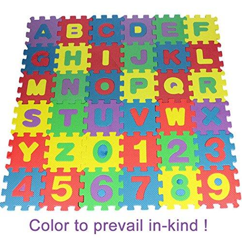 Nisels 36 UNIDS Bebé Niños Alfanuméricos Puzzle Educativo Bloques Infantil Niño Juguete de Regalo Alfombrilla de Juego Infantil Gomaespuma EVA Resistente a la Humedad