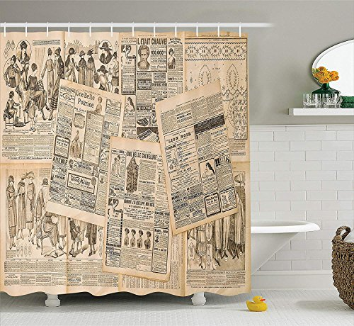 Antique Decor Shower Curtain Set Newspaper Pages With Advertising And Fashion Magazine For Woman Edwardian
